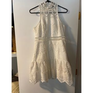Red Dress Boutique Dresses - White mini dress with lace detail